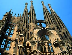 Gaudi's Sagrada Familia (Holy Family), unfinished, Barcelona, Spain